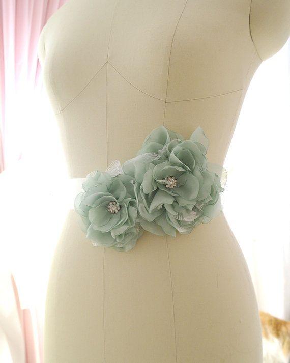 Huge Sage Green Flower Rhinestone Bridal Maternity Sash