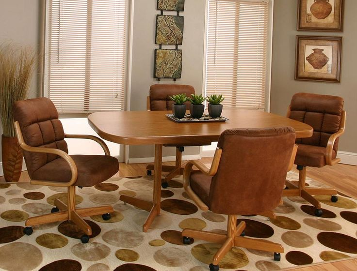 New SWIVEL TILT Dining Dinette 4 Chairs On Casters And