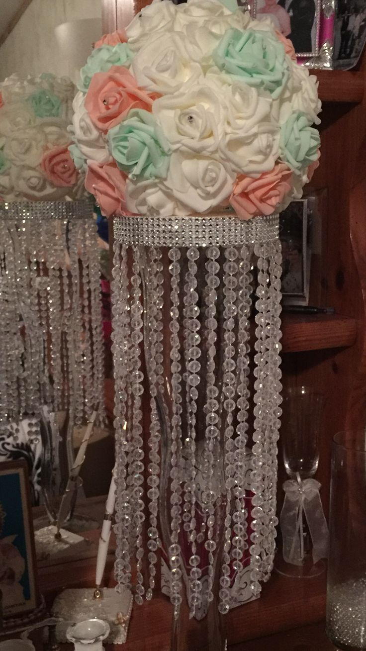Diy Centerpiece Chandelier With Foam Rose Heads For