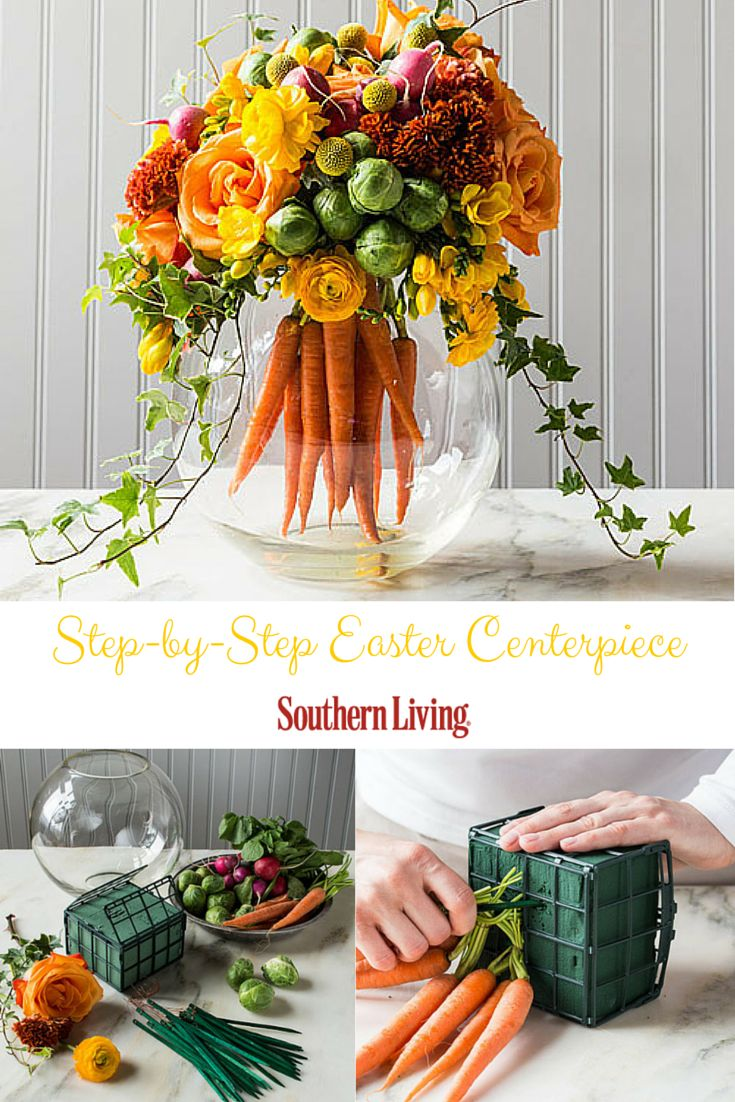 Easter Centerpiece | Mix up traditional floral arrangements with a bouquet of bright carrots at the heart of this more subtle