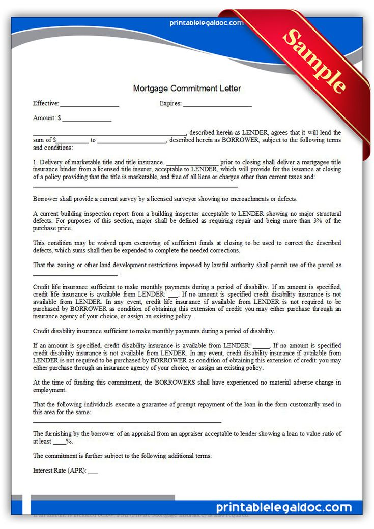 Free Printable Mortgage Commitment Letter Legal Forms Free Legal Forms Pinterest Letter