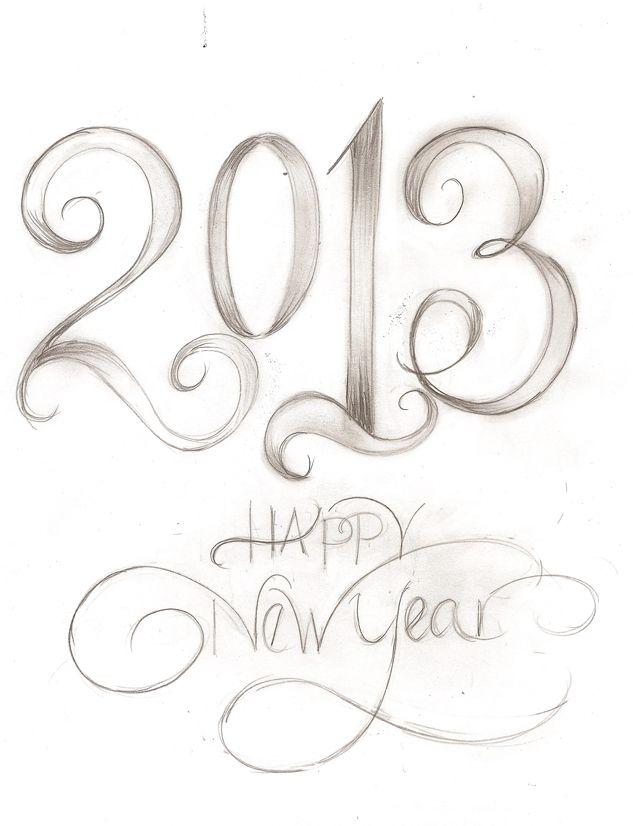pencil new year drawings