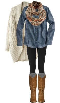 Cozy In Chambray By Qtpiekelso On Polyvore  I Need To Get Off Of This Island So I Can Have An Excuse To Buy And Wear Fall Clothes!!: