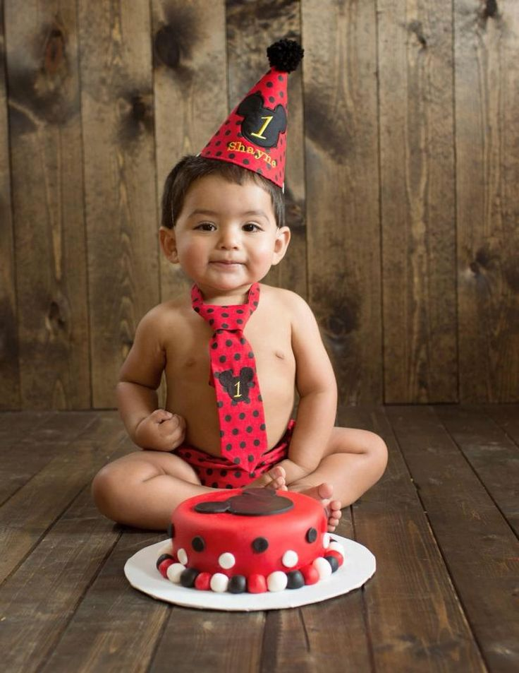 Mickey Mouse Boy First Birthday Cake Smash Outfit Tie
