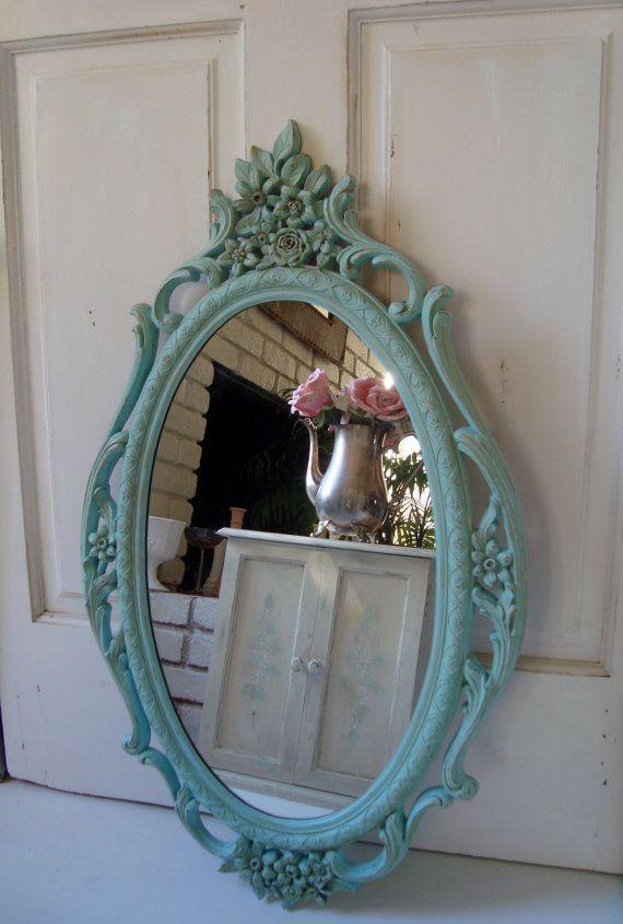 Blue Vintage Ornate Mirror Aqua Blue Large Syroco Oval