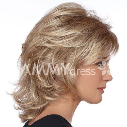 Elegant Charming Medium Wavy Layered Human Hair Side Bang