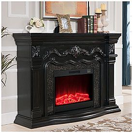 62 Grand Black Electric Fireplace At Big Lots For The