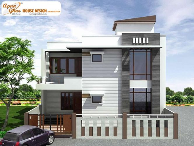 4 Bedroom Modern Duplex 2 Floor House Design Area 150 Sq Mts 10m X 15m Click On This Link Http Www Apnaghar Co In Pre Plan