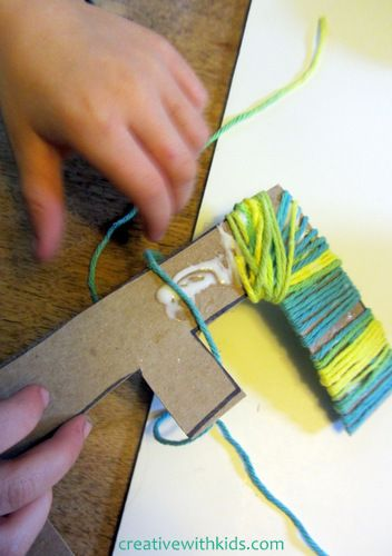 yarn wrapped letters – kids craft