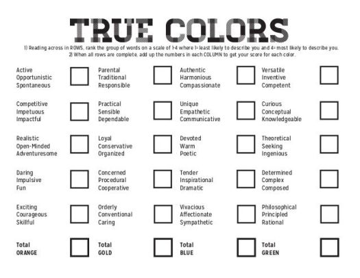 Four Color Personality Test Meaning   Coloring Page Books and etc