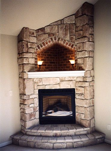 Corner Fireplace With Hearth Cove Lighting Corner Wood
