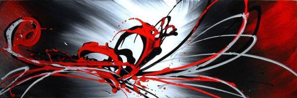 Tableau panoramique gris rouge noir peinture abstraite ...