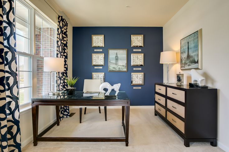 love the blue accent wall den library office study on blue office color id=94389