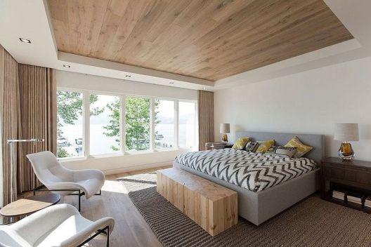 Bulkhead with no cornice in bedroom, hidden curtain tracks
