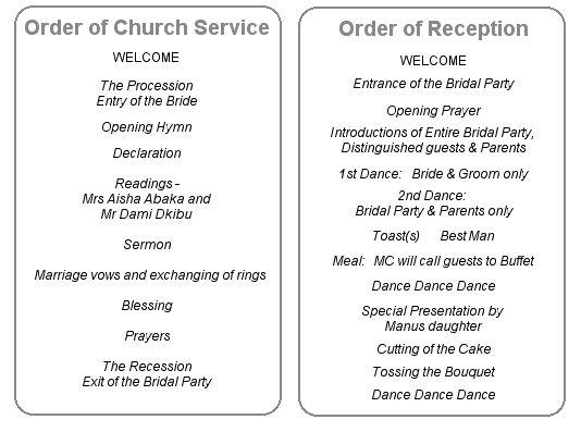 order of a wedding reception | Invitationjdi.co
