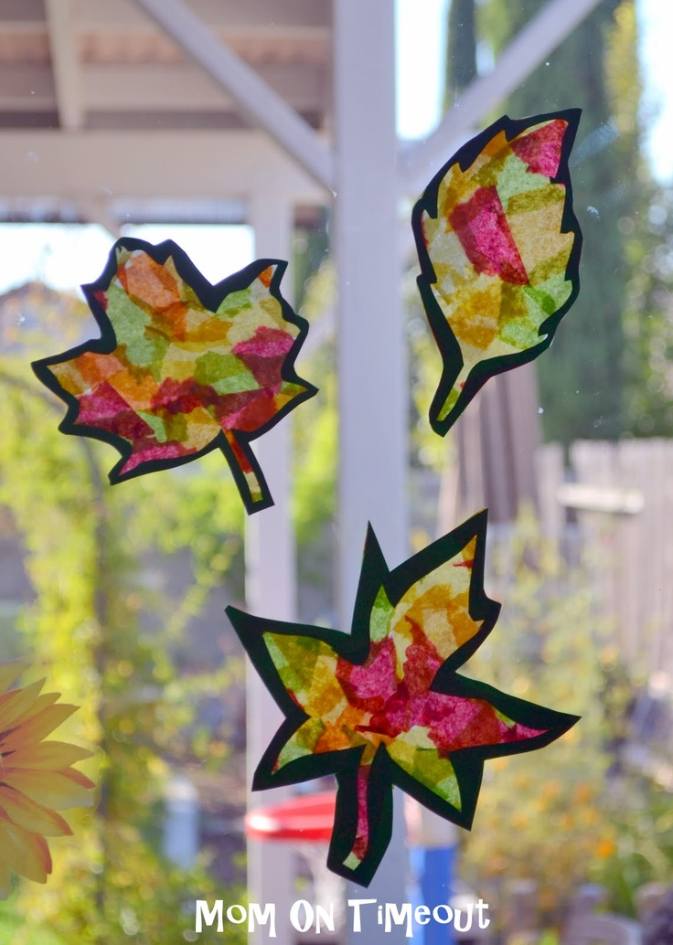 Stained Glass Fall Leaves Craft With Template