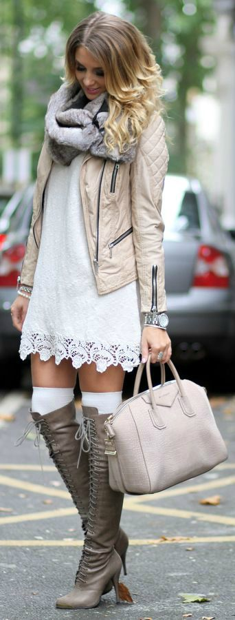 Daring, but pretty! Lose the scarf & the knee socks though... :):
