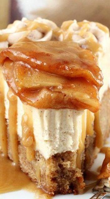 Caramel Apple Blondie Cheesecake: