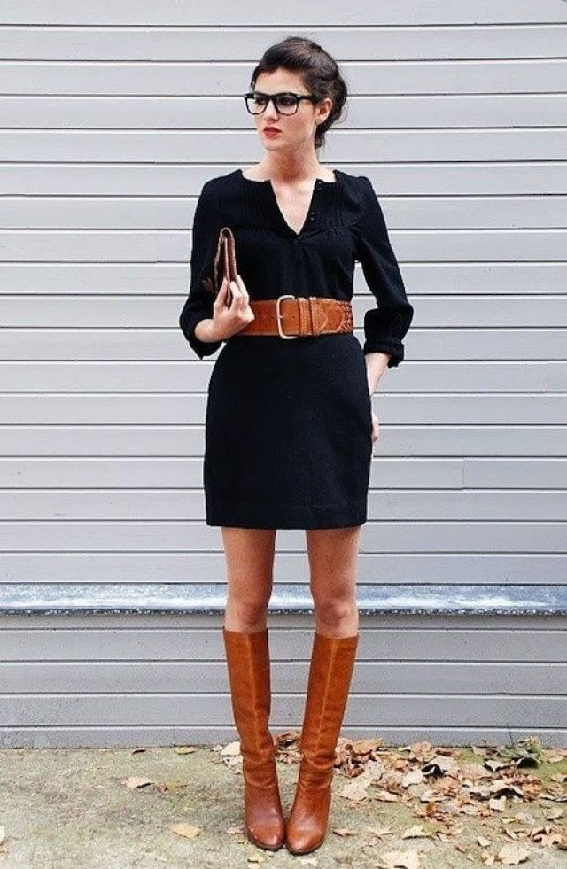Black dress and brown boots... perfect fall outfit for work http://iwantmk.blogspot.com/  #discount mk bags#MK bags #mk outfits #michaelkors bags #bag for mk $61.99 for your best gift for self!