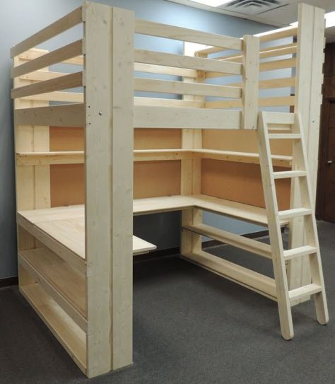 Loft Bed With Work Area Underneath.
