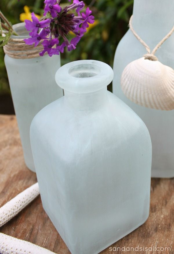 DIY Sea Glass Vases – so easy and looks just like Pottery Barns!
