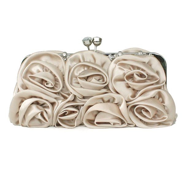 Charming Plain Satin Floral Convertible Small Clutches, Single Deck