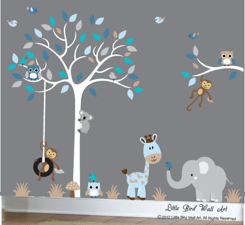 Baby Boy Wall Decal Nursery White Tree Wall Decal Grey