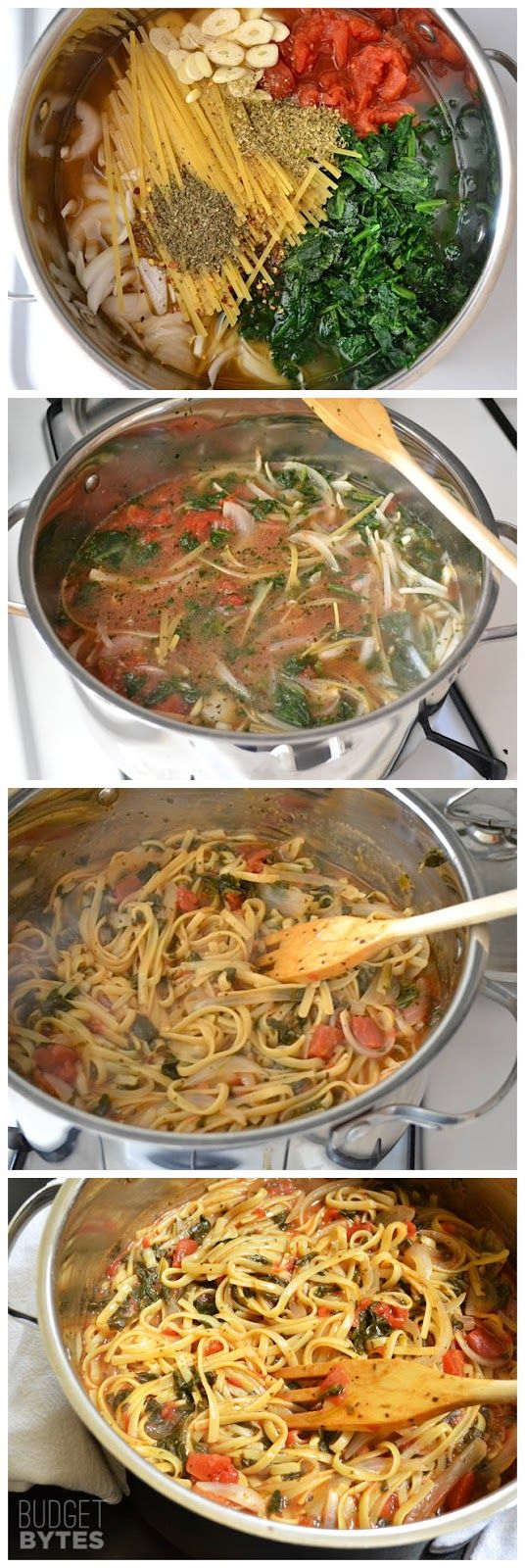 Italian Wonderpot – This pasta is incredibly easy to make and inexpensive. No draining necessary! Switch out whichever veggies you like or add more to make it your