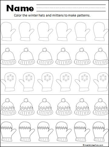 This Is A Free Hat And Mitten Pattern Worksheet For Your