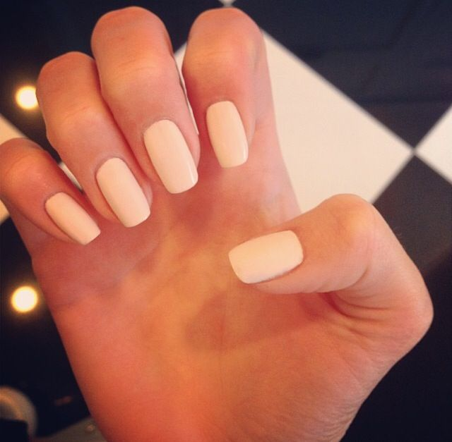 Cream Colored Matte Nails