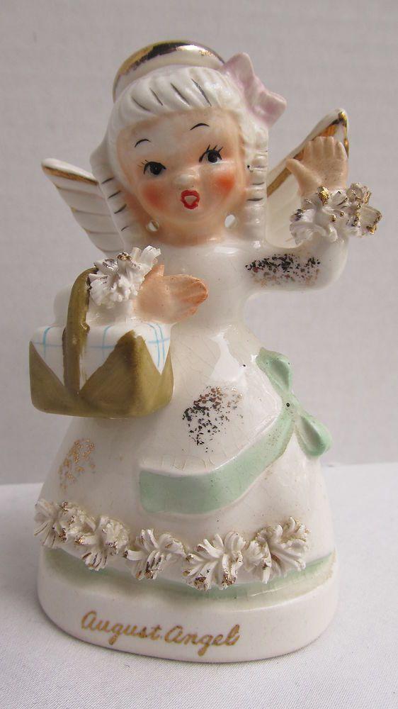 VINTAGE 1950s NAPCO BIRTHDAY MONTH AUGUST ANGEL GIRL