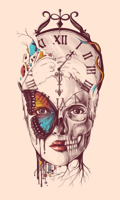 Norman Duenas. Symbolism: Monarch Butterfly/MK-Ultra programming, death culture, clockwork, fractured mind, fragmented personality, merging of nature and