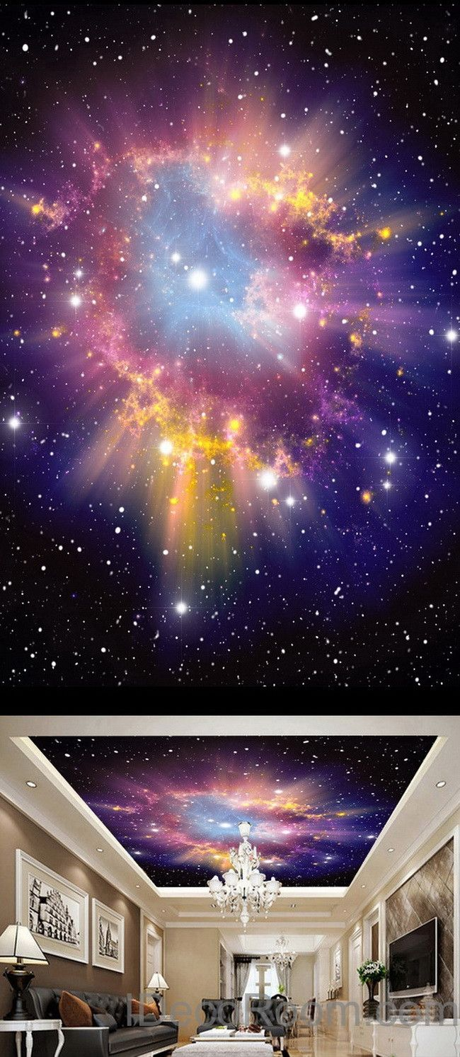 3D Infinity Galaxy Colorful Nebula Ceiling Wall Mural Wall Paper Decal Wall Art Print Decor Kids