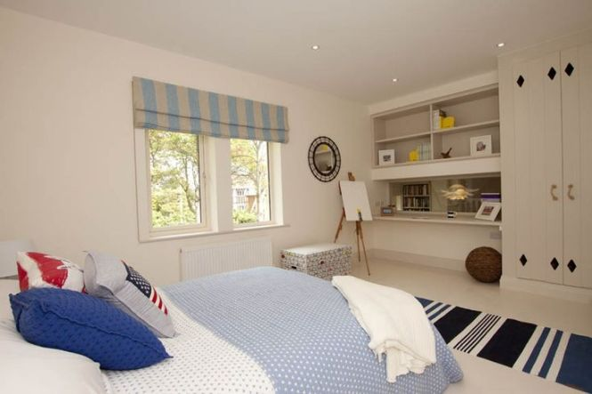 New England Style Bedroom By One 17 Bespoke Wardrobes Built In Desk With Internal Window Lexington Bedspread And Cushions