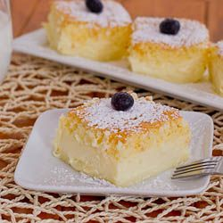 Magic Cake – one thin batter turns into a 3 layer cake with a delicious custard