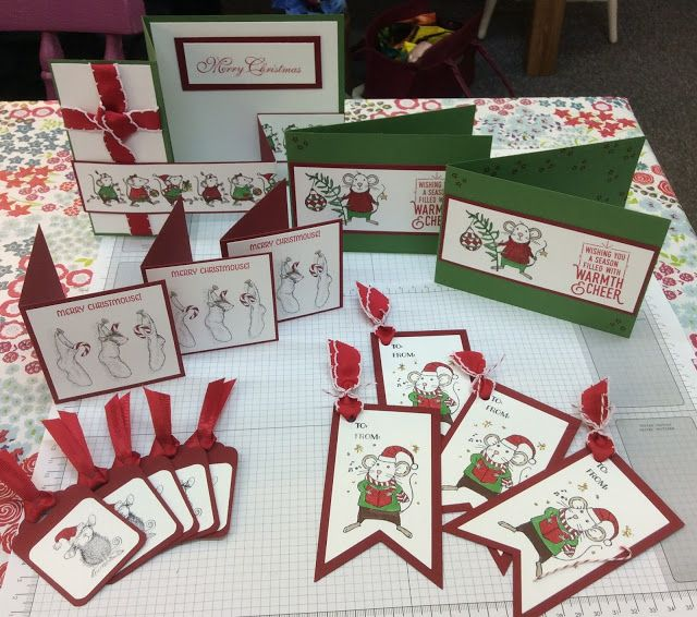 Merry Mice Stampin Up House Mouse Christmas Cards Gift
