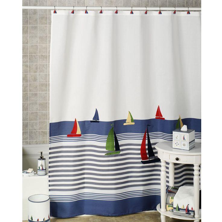 Nauticalshowercurtainsandbathaccessories Home Regatta Shower Curtain BlueWhite 70 X 72