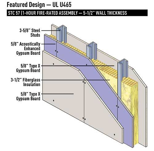 one hour rated wall 5 1 2 thickness 16 o c metal on 2 hour firewall construction detail id=13430