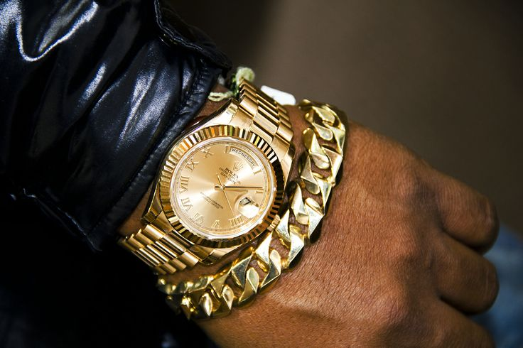 Rolex Presidential Watch With Matching Cuban Link Bracelet