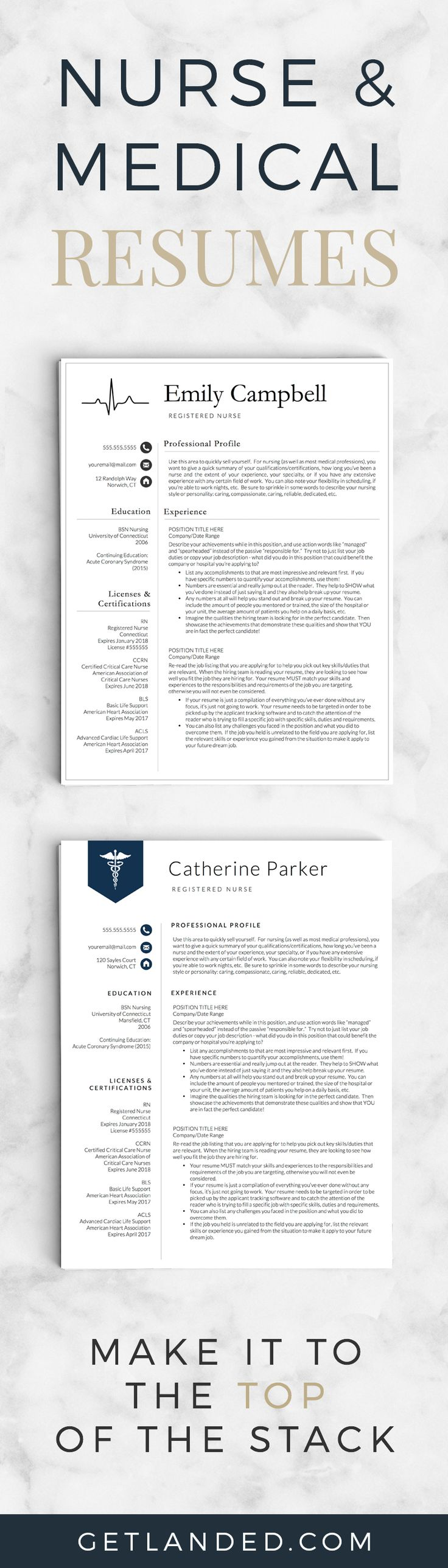 Nurse resume templates | Medical resumes | Resume templates specifically designed for the nursing profession!
