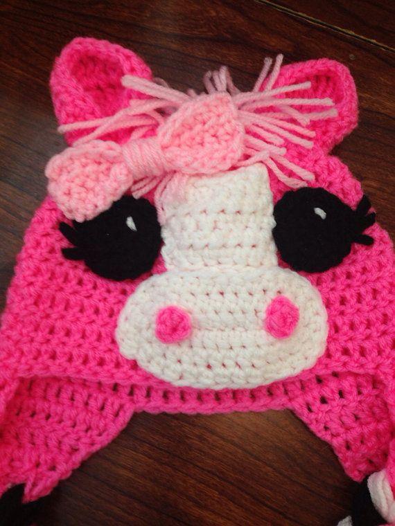 Pink Purple Little Pony Horse Crochet Hat Child Crochet Hat Baby Crochet Hat on