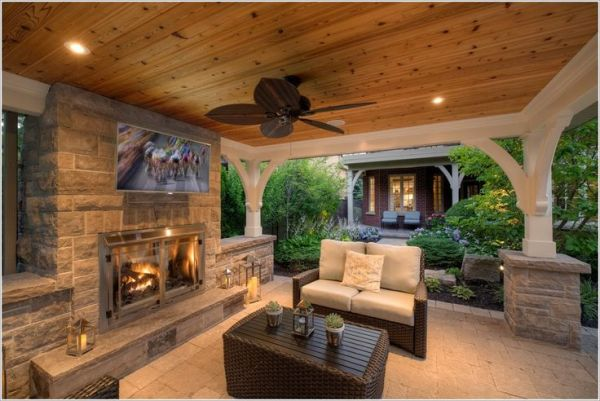 outdoor covered patio with fireplace and kitchen outdoor fireplace quote   outdoor kitchen   Pinterest