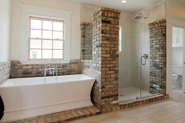 Brick Around The Tub And Shower Home Decor Love