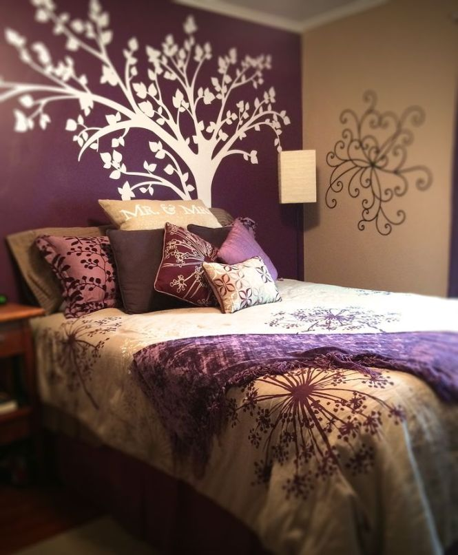 Realized The Dream Of A Purple Accent Wall Bedroom Design Comes Together With Tree