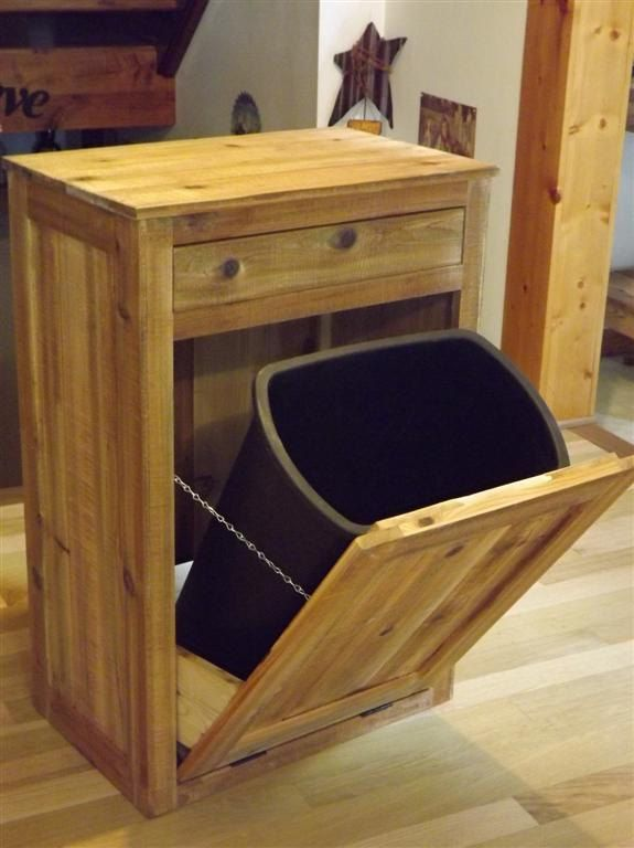 Distressed Reclaimed Wood Crate Tilt Out Trash Bin