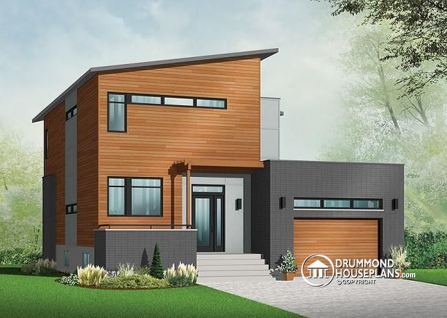 W3456 V1 Striking 3 To 4 Bedroom Contemporary House Plan With Home Office Open Floor Fireplace And Garage