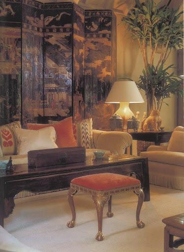 Coromandel Screen Behind Living Room Sofa Throw Pillows
