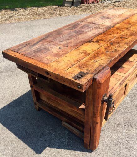 C 1890 Primitive Antique Workbench 2 Vice With Hidden