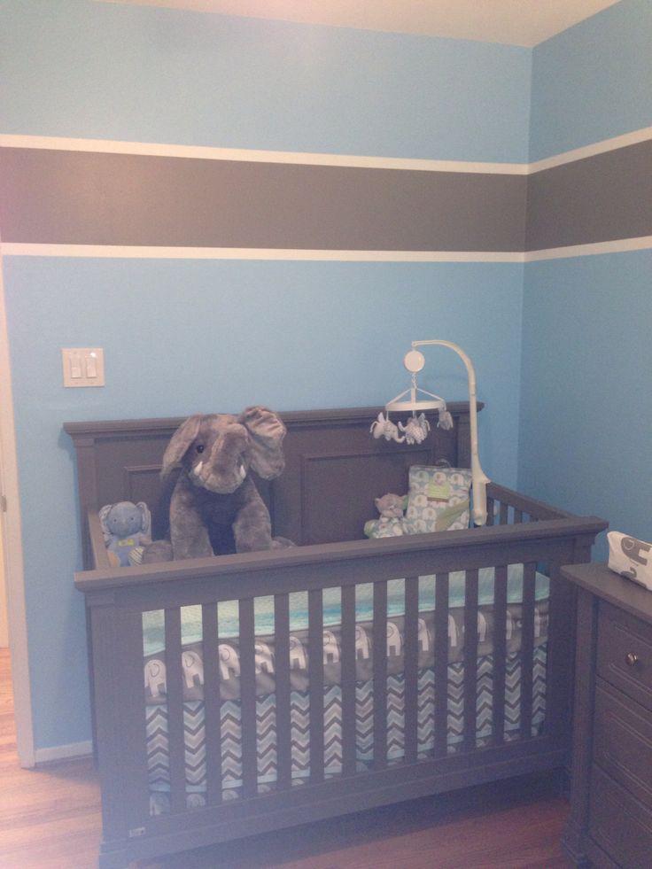Baby Boy Nursery Grey And Blue Boy Nursery Elephant Theme Pinterest Grey Crib Gray And