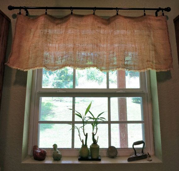 Shabby Chic Country Cottage Chic Farmhouse Rustic Burlap Window Valance with fringed bottom on Etsy,